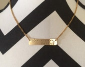 Simple Gold tone Bar Necklace