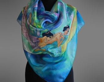 Vrubel silk scarf The Pearl. Hand painted silk scarf.  Square silk scarf. Designer silk scarf. Pure silk scarf. Art to wear. Ready to ship.