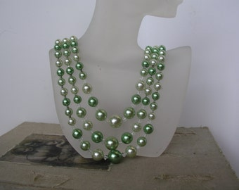 Vintage Three Strand Green Beaded Necklace