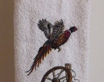 Embroidered ~PHESANT~ Kitchen Bath Hand Towel