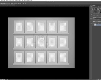 15 Vertical Mat Viewing Wall Template - Adobe Photoshop CS3 and Up