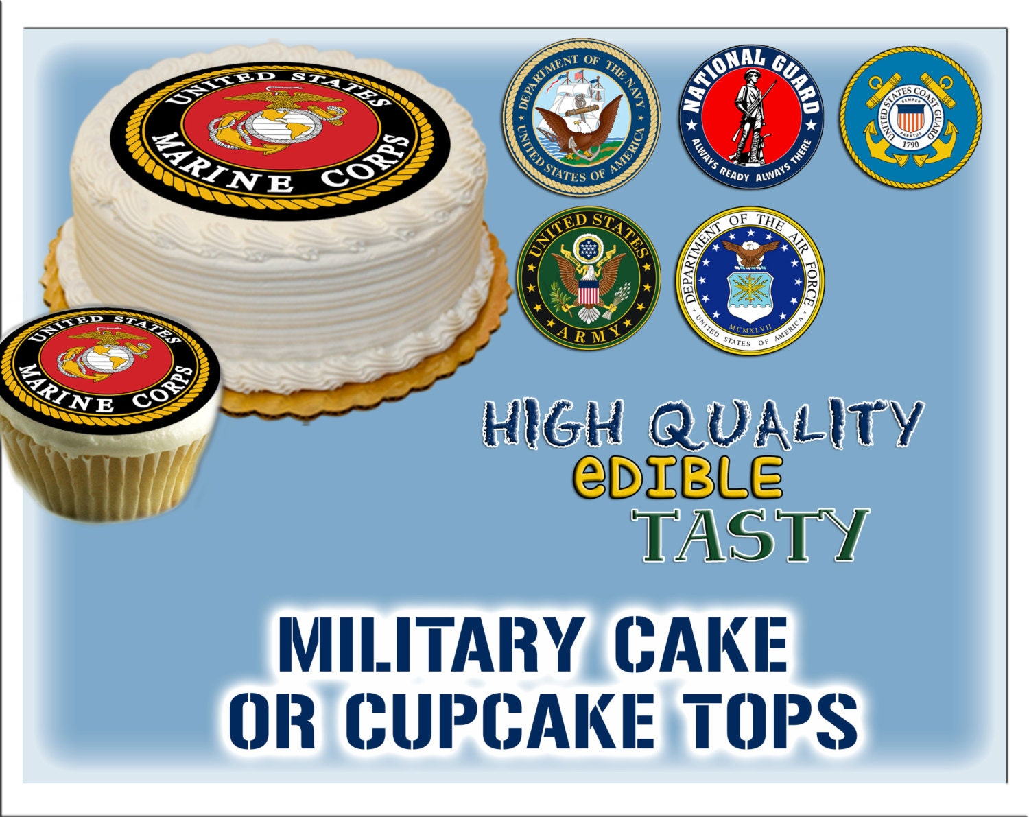 Military edible cake or cupcake toppers Sugar by ...