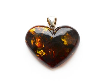 Baltic amber heart pendant with silver. Large Amber pendant heart shaped jewelry for women. 0514