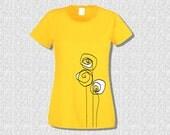 T-shirt Women Short Sleeve 3 White Roses - T-shirt Women by K-Log