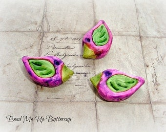 Abstract Purple & Lime Green Hand Painted Polymer Clay Birds