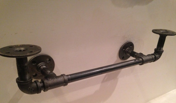 industrial black pipe shelf bracket by cuttingedgecraftsmen. Black Bedroom Furniture Sets. Home Design Ideas