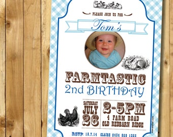 Instant Printable Invitation - CUSTOM Invitation Instant Download DIY Printable for 'Vintage Farm' Party