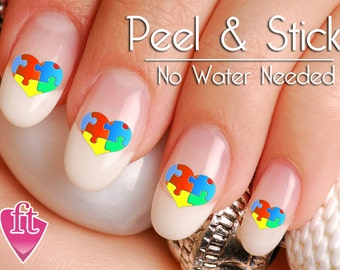 Autism Awareness Heart Nail Art Decal Sticker Set - Ribbon Puzzle Piece Heart Nail Decals