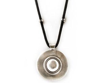 Black Rope Statement Necklace, Large Ethnic Pendant Necklace, Rope Jewelry, Tribal Necklace, Long Necklace