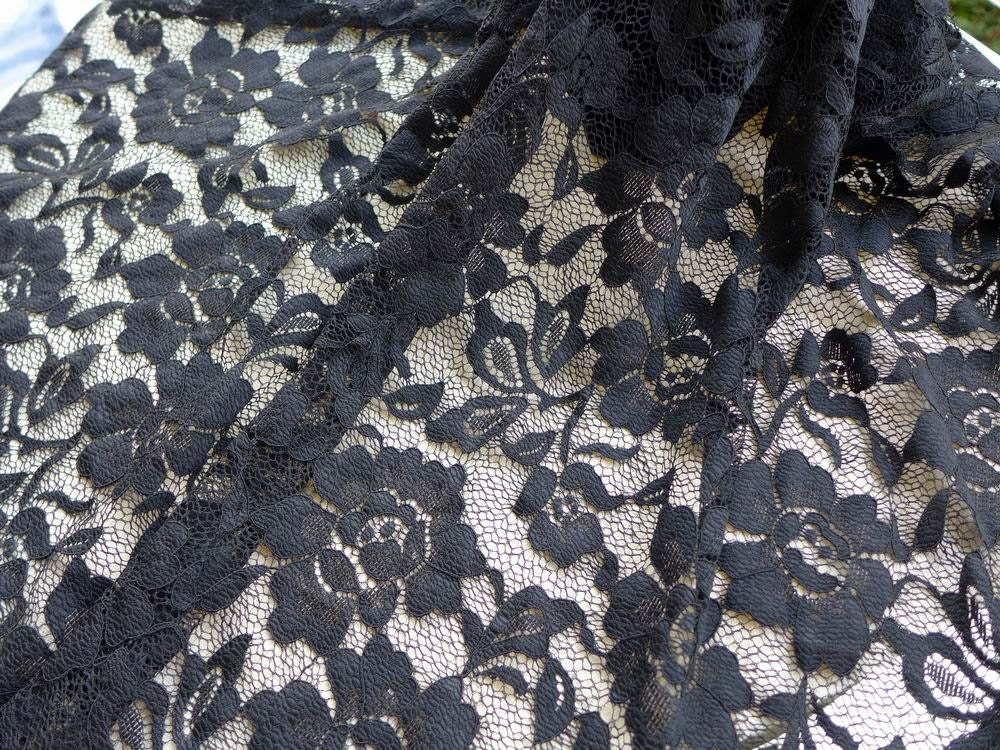59 Black Roses Fabric Stretch Floral Lace Fabric For