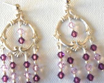 Gypsy Queen, Swarovski Crystal, Purple, Pink, Post Earrings, Gift Idea, Sterling Silver, Texture