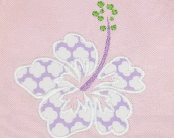 Hibiscus flower machine applique and filled embroidery design in several sizes.