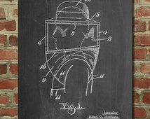 Bee Keeper Hat and Veil Patent Poster, Honey Bee, Farmer Art, Organic Honey, Beekeeper Gift
