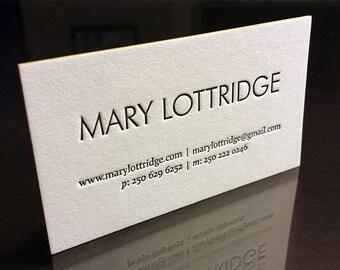 Letterpress Business Cards -100 - 1 colour 1 side, Color Edges - 500gsm Reich Savoy 100% Cotton