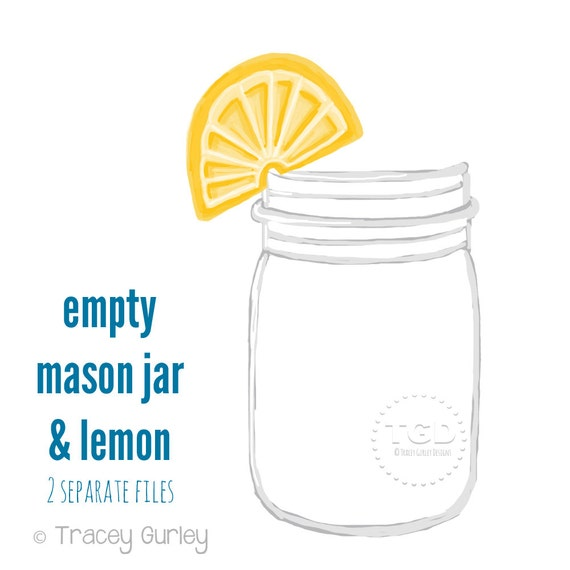 Mason Jar Clip Art Mason jar with lemon Invitation Paper