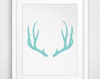 Antler Art, Turquoise Print, Deer Antlers, Teal Wall Art, Deer Print, Blue Art, Printable Art, Wall Decor, Turquoise Prints, Teal Wall Art