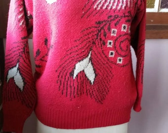 Vintage eighties jumper /sweater red black and metallic gold floral design by Helen B of Sydney size 16