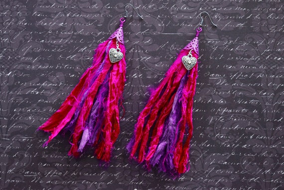 fuscia and purple shoulder duster sari silk earrings with heart