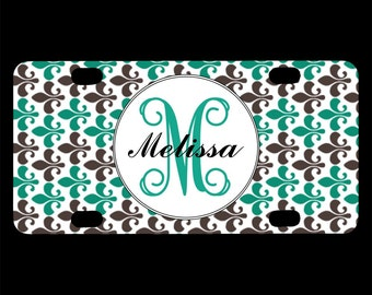 Monogrammed Bicycle License Plate, Teal Brown Floral, Bike, Fleur De Lis, Monogram Initials Letters, Personalized Bicycle Tag, Custom, Name