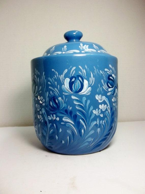 blue stoneware ceramic canister kitchen storage by