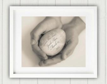 Personalized Nursery Art, Christening Gift, Unique Baby Gift, New Baby Gift, Personalized New Baby Gift, Egg in Hands Print, Baptism Gift