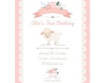 Little Lamb Invitation First Birthday Lamb Girl Invitation Baby - Printable Customized Invitation