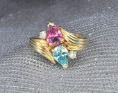 14K Yellow Gold Blue Zircon (December Birthstone), Pink Tourmaline (October Birthstone) & Diamond Ring.  Free Shipping in the U.S.
