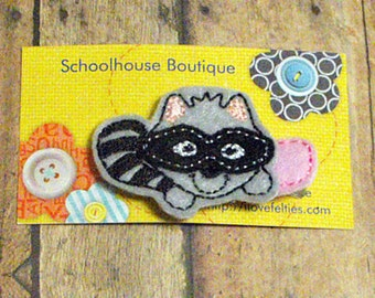 Raccoon Felt Hair Clips, Feltie hair clip, Feltie, Felt Hair Clip, Felt Hair Clippie, Felt Hair Bow, Party favor