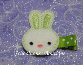 Lime Green Bunny felt Hair Clips, Easter Basket Filler, Felties, Felt Hair Clip, Felt Hair Clippie, Hair Accessories