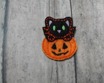 Kitty on Pumpkin felties, halloween,felt paper clip, badge reel, felt brooch, felt bookmark, planner clip, felt hair clip, key chain
