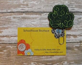 St Patty Swirl Shamrock felt paperclip bookmark, felt bookmark, paperclip bookmark, feltie paperclip, christmas gift, teacher gift