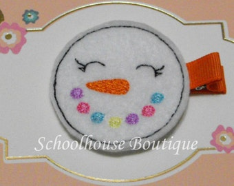 Multi Color Snowman Felt Hair Clips, Felties, Feltie Hair Clip, Felt Hairbow, Felt Hair Clip, Felt Hair Clippie, Party Favor
