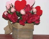 Valentine's Day Centerpiece Red Silk Roses Pink Miniature Roses Red and Pink glittery hearts Distressed Wooden Box with burlap bow
