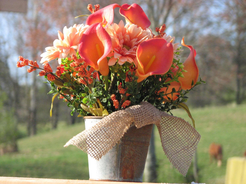 Rustic centerpiece silk floral arrangement rusty tin bucket