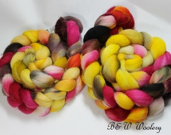 Romney Roving, hand painted, wool roving, 32 micron, felting, spinning, Romney top