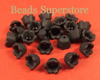 10 mm x 6 mm Black Lucite Flower Bead - 20 pcs