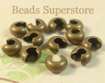SALE 4 mm Antique Brass Crimp Bead Cover - Nickel Free and Lead Free - 50 pcs