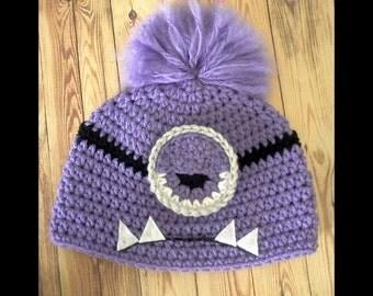 Crochet Evil Minion Hat Pattern-- PDF FILE Only--Digital Download