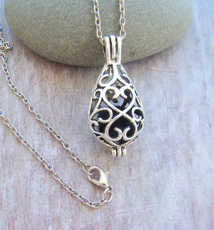 Filigree Teardrop Essential Oil Diffuser Necklace