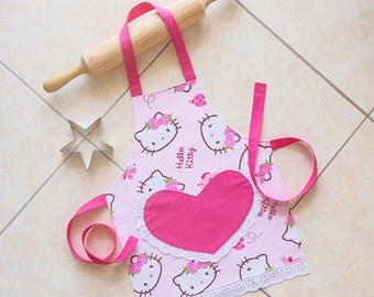 Kids & Toddlers Apron pink, Hello Kitty apron, girls kitchen craft art play apron, lined cotton apron with heart pocket, pretty Pink Kitty