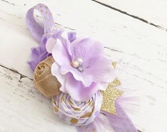 lavender gold headband // wedding flower girl headband // spring easter headband // lavender gold birthday party // baby girl headband