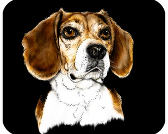 Custom, personalized mouse pad - Beagle Drawing - Add your own text