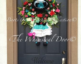 Alice in Wonderland Wreath Mad Hatter Wreath Spring Wreath Easter Wreath Tea Party Wreath