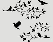 Birds Branch Tree Wall Painting Furniture Stencil