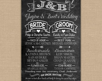 Custom Wedding Program Chalkboard sign. Personalized Wedding Sign. Wedding Decor Custom Printable 24x36 DIGITAL file