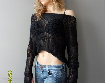 Black cropped sweater. Cotton knit crop sweater. Loose knit black top.