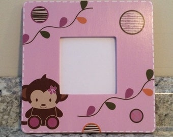Jacana Monkey Zebra Wall Picture Frame Bedding Nursery Decor Personalized Hippo Giraffe