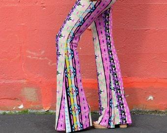 DESERT WANDERER AZTEC native tribal  geometric pink purple flare leg bell bottom fashion gypsy hippie retro festival yoga beach lounge pants