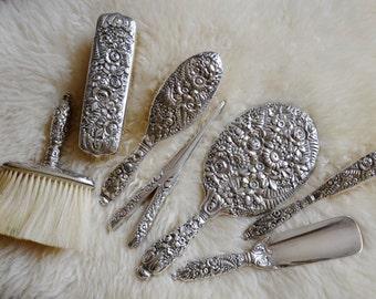 Antique Tiffany & Co Sterling Silver Vanity Set Floral Repoussé, 7 Piece Dresser Set