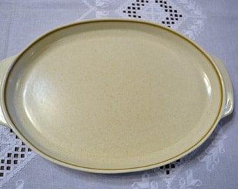 """Vintage Lenox Temperware Sprite Oval Platter 15"""" Beige Brown Panchosporch"""